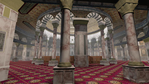 Animation of Dome of the Rock interior in Jerusalem Stock Video Footage