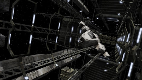 Spaceship flying out of a futuristic space station Animation