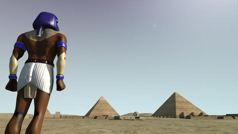 3D animation of the Giza platform Egypt and the god Horus Animation