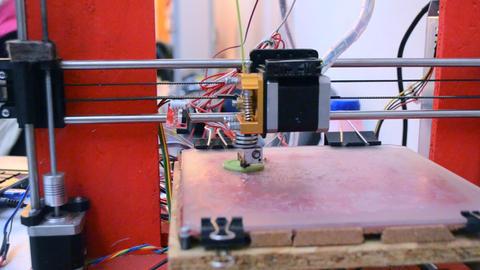 3D printer working. Fused deposition modeling, FDM Live Action