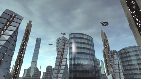 Fly through futuristic city with spaceships passing by Animation