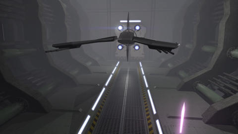 Futuristic spaceship in a 3D corridor Animation
