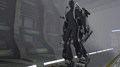 Animation of a futuristic mech Animation