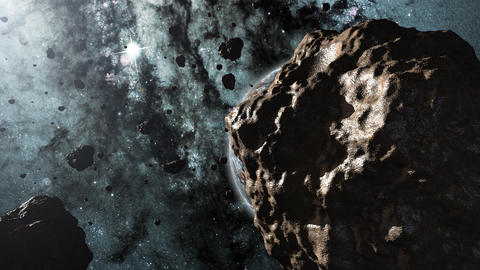 Asteroids and a planet 3d animation Stock Video Footage