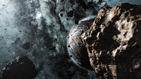 Asteroids and a planet 3d animation Animation
