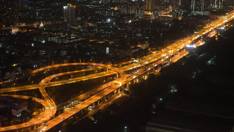 urban landscape, urban style. traffic at night on the bridge, aerial view Footage