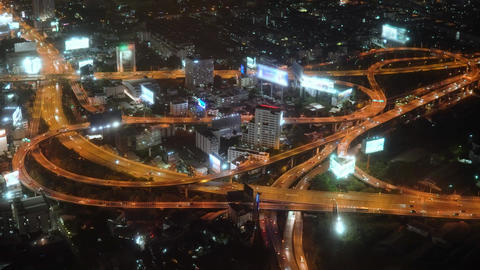 city view of the motorway in the big city. traffic at night. urban Footage