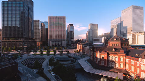 TimeLapse - Scenery of Tokyo Marunouchi from day to night Zoom in Footage