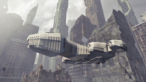 Spaceship taking off a damaged city Animation