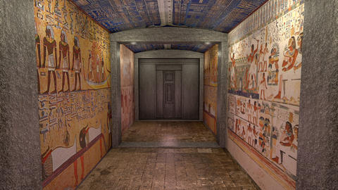 A 3D animation of a tomb in ancient Egypt. A greenscreen behind a door Animation