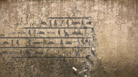 Hieroglyphs falls out of an old wall Animation