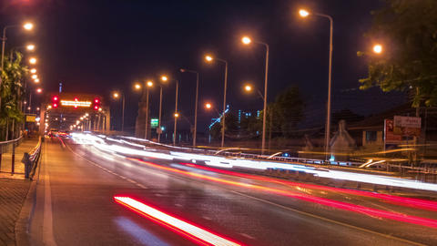 4k time lapse,Car lights In traffic at night Footage
