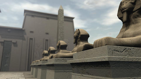 A row of sphinx statues at a temple in ancient Egypt Animation