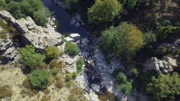 Rocky River Aerial Overhead Shot Footage