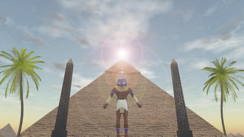 Animation of the egyptian god Horus standing before a pyramid Animation