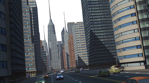 Virtual street view with apache helicopter Animation