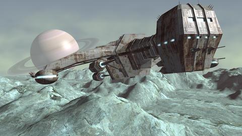 Animation of futuristic spaceship above planet 4K Animation