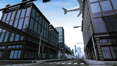 Monorail and airplane in city scene Animation