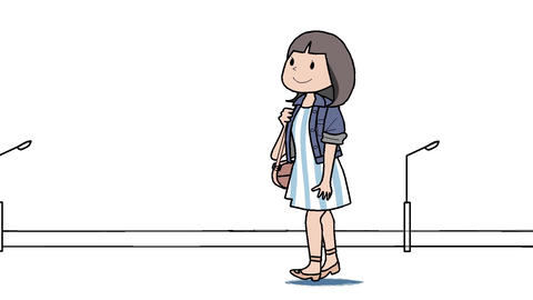 Woman walking in the city Animation