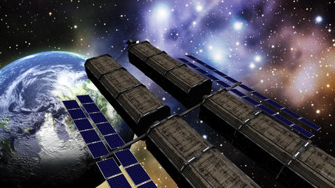 Animation of a space station in outer space Animation