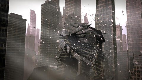 Collapsing building in a urban city Animation