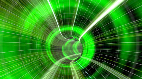 Animated wormhole through space, green Animation