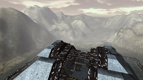Spaceship take off from futuristic pyramid aerial Animation