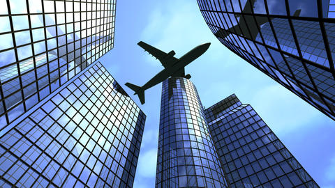 Airplane flying above office buildings Animation