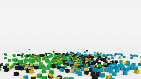 Flag of Tanzania created from 3d cubes in slow motion Animation