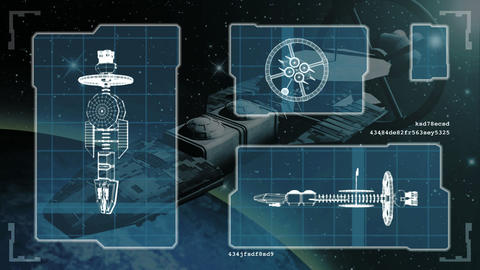 Futuristic blueprint of a spaceship Animation