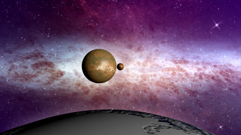 Space travel along planets in the solar system Animation