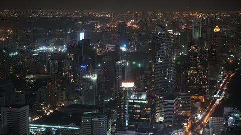 city view with skyscrapers at night, top view. corporate and shopping centers Footage