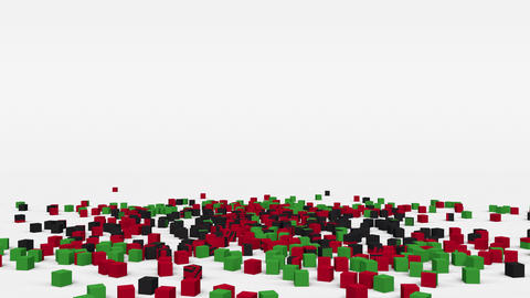 Flag of Malawi created from 3d cubes in slow motion Animation