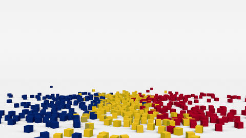 Flag of Romania created from 3d cubes in slow motion Animation