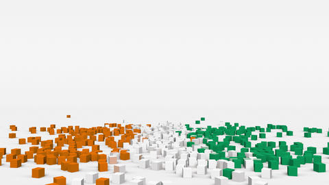 Flag of Ivory Coast created from 3d cubes in slow motion Animation