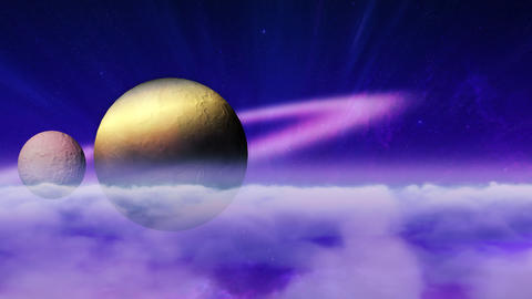 Planet and moon in cloudscape Animation