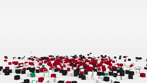 Flag of Syria created from 3d cubes in slow motion Animation