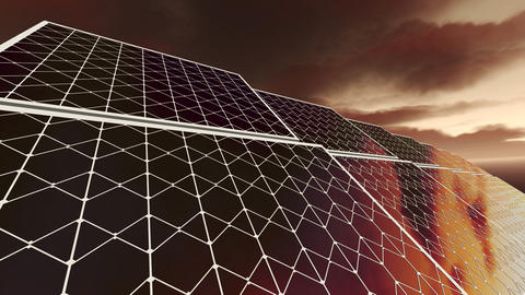 Animation of solar panels with red sky Animation