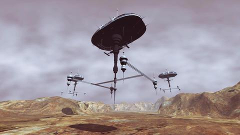 Animation of spaceship landing on planet Animation
