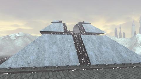 Spaceship take off from futuristic pyramid Animation