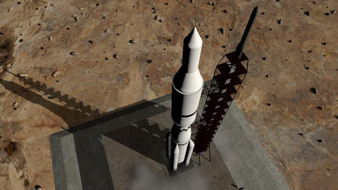 Animation of rocket launch close-up Animation