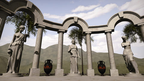 Ancient greek temple with sculptures Animation
