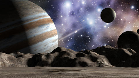 Jupiter and moons in space landscape Animation