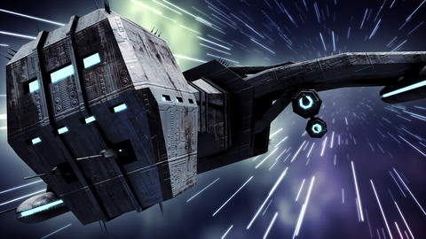 Animation of futuristic spaceship in warp speed Animation