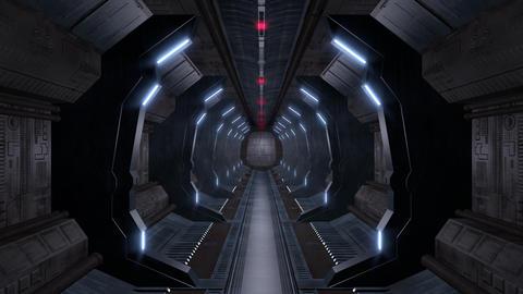 Corridor with opening door including alpha matte Animation