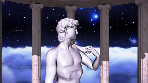 Greek temple in cosmic scene with a sculpture Animation