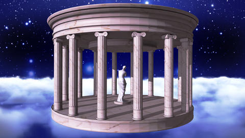 Ancient greek temple in space Animation