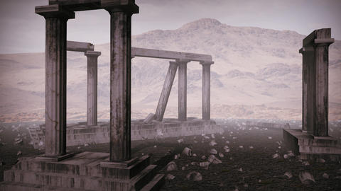 Animation of moving around the remains of an ancient greek temple Animation