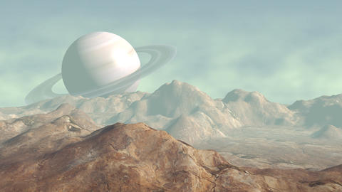 Moon landscape with Saturn in distance Animation