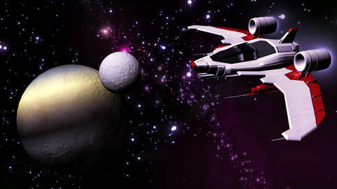 Futuristic spaceship flying in solar system Animation